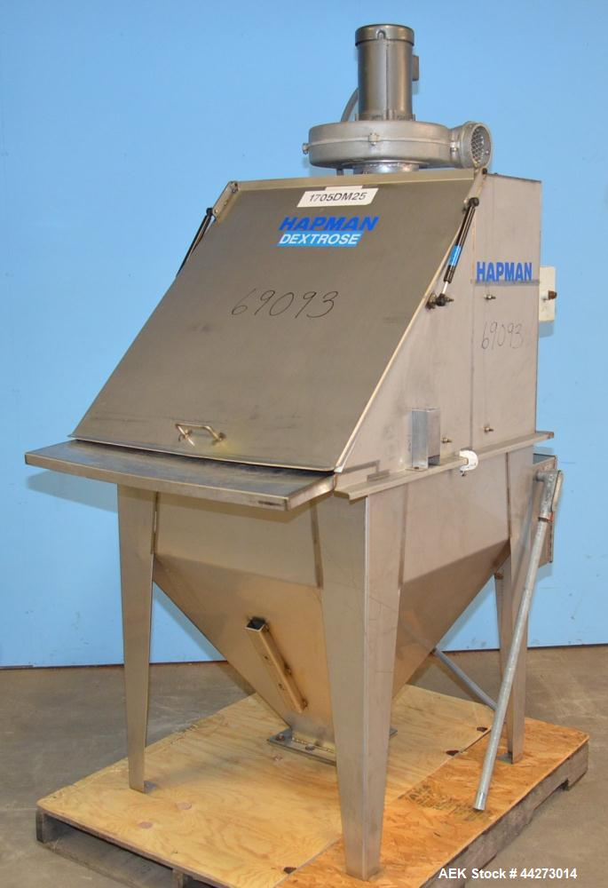 "Used- Hapman Vibrating Dump Station, Stainless Steel. Includes a Dust Collector. Approximate 30"" long x 16"" wide x 37"" high ..."
