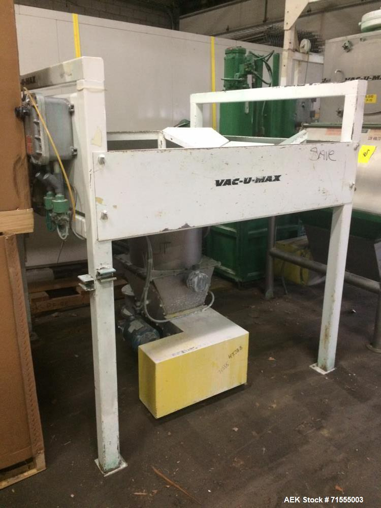 Used- Vac-U-Max Bag Dump Station. Top mounted dust collector with blower motor. Includes a Vac-U-Max hydraulic baler.