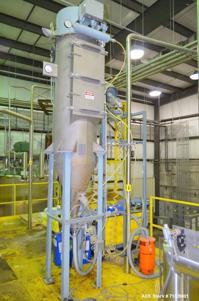 Used- Blending Enzyme System including Top Mounted Super Sack Bag Unloading System with Hanger, Vacuum, Dust Filter, Blower,...