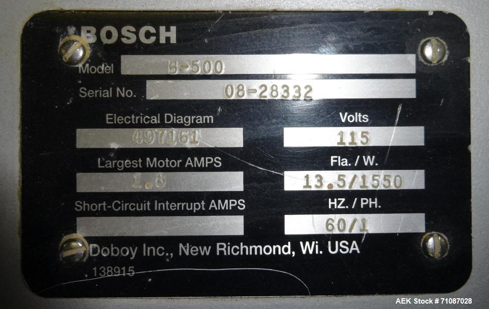 """Used-Doboy (Bosch) Model B500 automatic bag sealer rated from 50"""" to 750"""" per minute - depending on materials and applicatio..."""