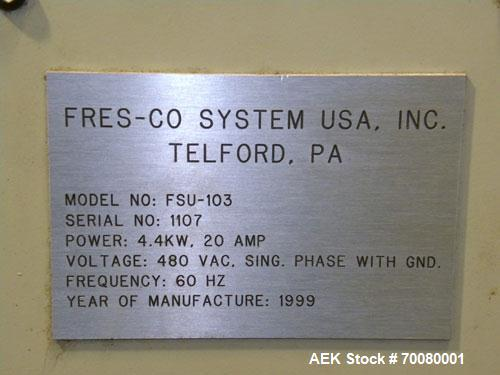 Used- Fres-Co Systems Band Sealer, Fresco Model FSU-103. Capable of sealing up to 16 Bags per minute. Handles bags from 5 to...