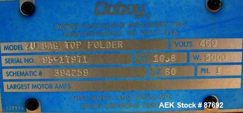 Used- Doboy Pinchtop Bag Top Folder / Gluer Model ZU. 1/60/460 volt, 5000 watt, 10.8 amp. Includes Uni Op control panel, Nor...