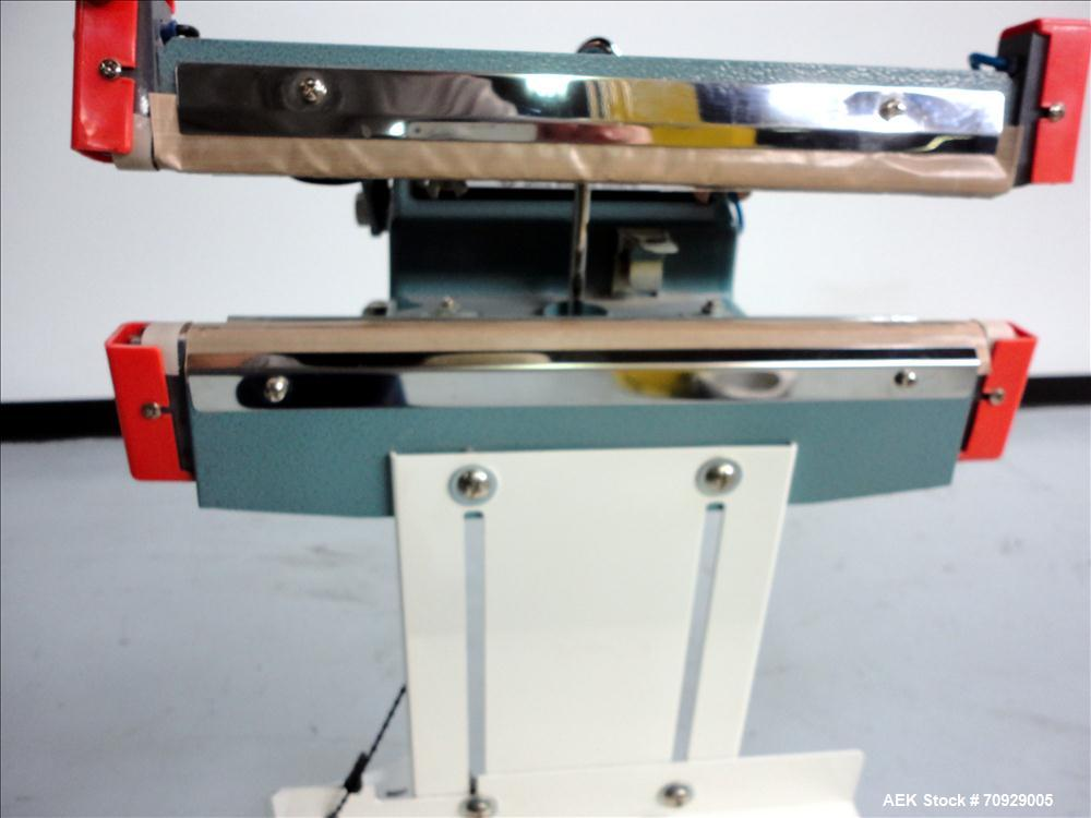 """Used- AIE Model AIE-300FD Impulse Heat Sealer. Has 12""""L X 1/2""""W foot-operated seal jaw, and a maximum sealing thickness of 2..."""