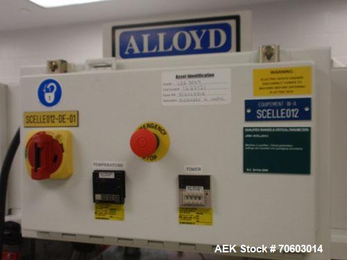 "Used- Alloyd Model 2S1628LU1 Two Station Shuttle Blister Sealer. Has a seal area of 16"" x 28"". Seal temperature range: up to..."