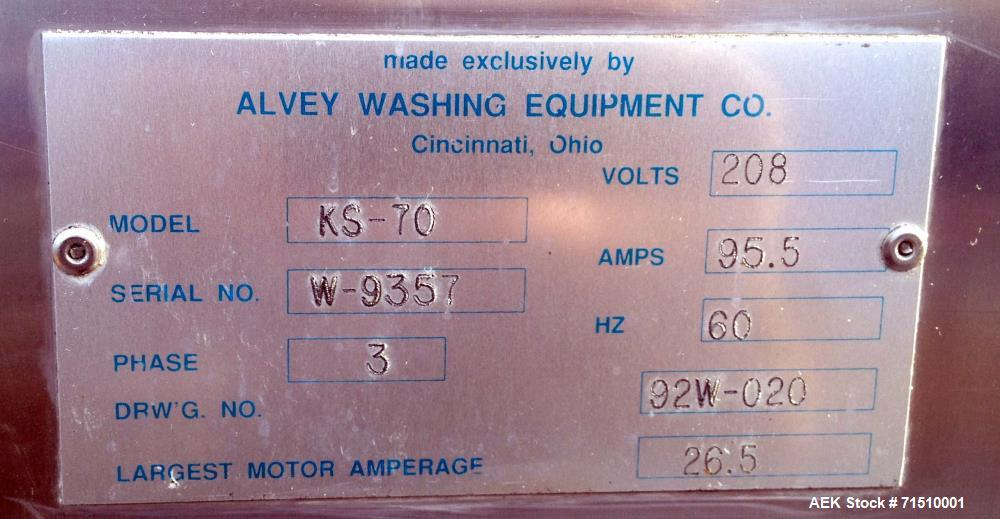 """Used- Alvey Tray Washer, Model KS-70. (2) Tray racks/carts, each cart holds 45 trays. Maximum tray dimensions 21""""x 26 1/2"""". ..."""
