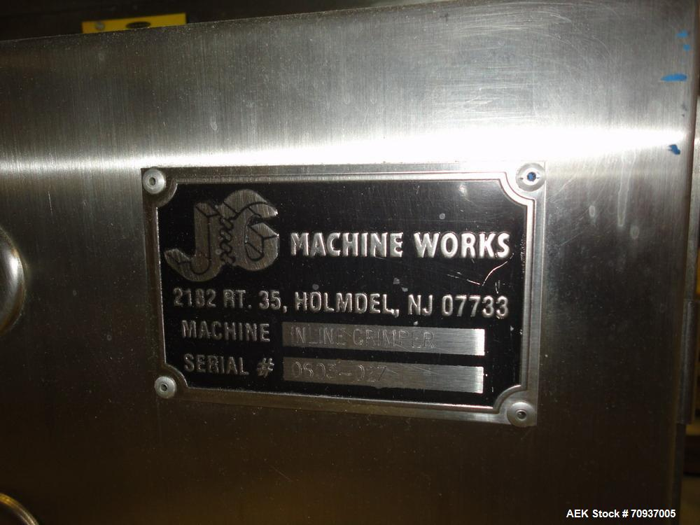 Used-JG Machine Intermittent Motion Pump Crimper, Model Online Crimper, S/N 0503-027. Stainless steel body with Lexan guards...