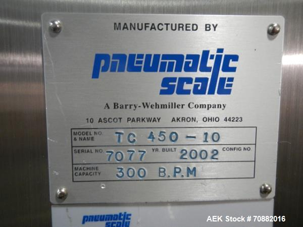 Used- Pneumatic Scale Model TC450-10 Rotary Chuck Capper