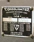 Used- Consolidated Model TG-10-15 Rotary Capper. Capable of speeds up to 375 BPM. Has a Consolidated model F30 pin dial cap ...