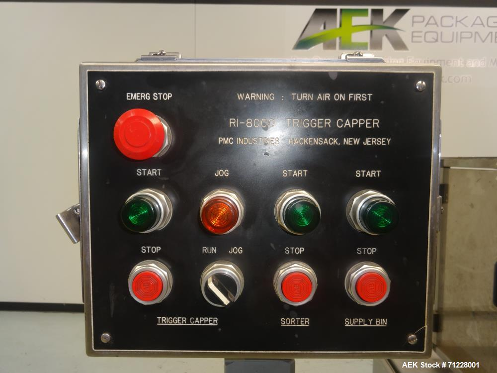 Used- PMC Model RI 8000 Trigger-Spray and Pump Inserting/Capping System
