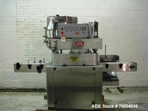 Used-Kaps All Model A Capper.  3 spindle, with side gripper belts, cap feeder and feed conveyor, serial # 5007, with Kaps-al...