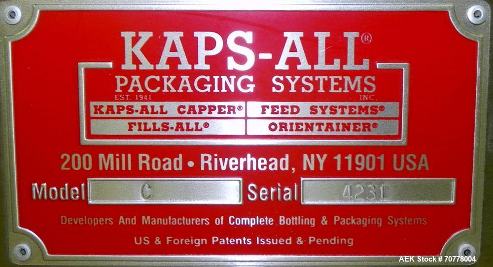 Used- Kaps-All Model C8 Automatic Iline Quill Capper