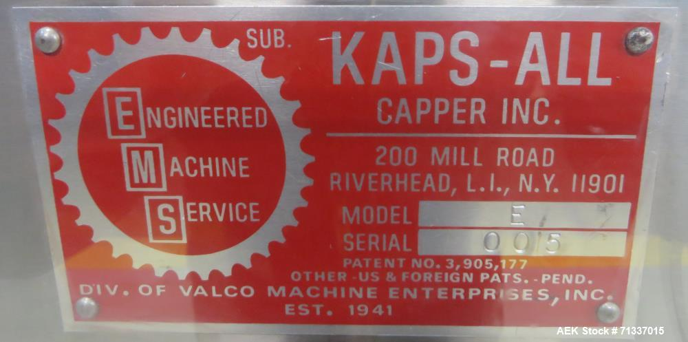 Used- Kaps-All Model E Automatic Quill Capper