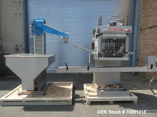 Used- Packwest Automatic Capper; Model Auto 200 TORQ. 8 spindle, floor level cap feed elevator. Catalog rated up to 200 CPM....