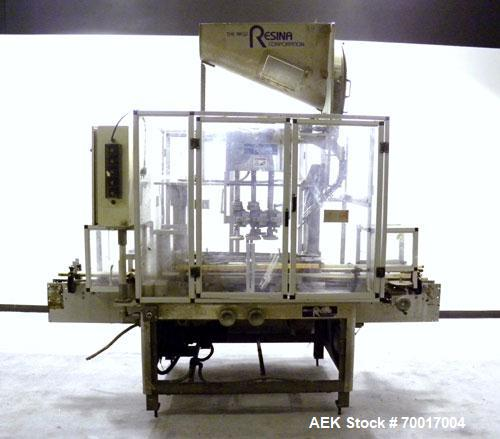 Used- Resina In-Line Quill Style Capper, Model NRU-301417. (3) Sets of 2 quills, rates up to approximately 300 caps per minu...