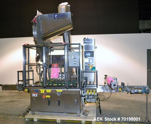 Used- Resina Model NRU51 High Speed Automatic Inline Quill Capper. Machine is capable of speeds up to 300 bpm. Cap size rang...