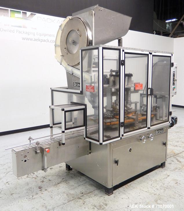 Used- Resina Model UN-30 Automatic Inline Quill Capper
