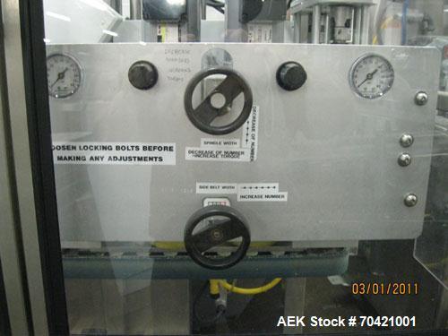 Used- New England Machinery Cap Tightener and Retorquer, Model NEPMTE-1F-DB-2. Has dual cap tightening spindles. Single belt...