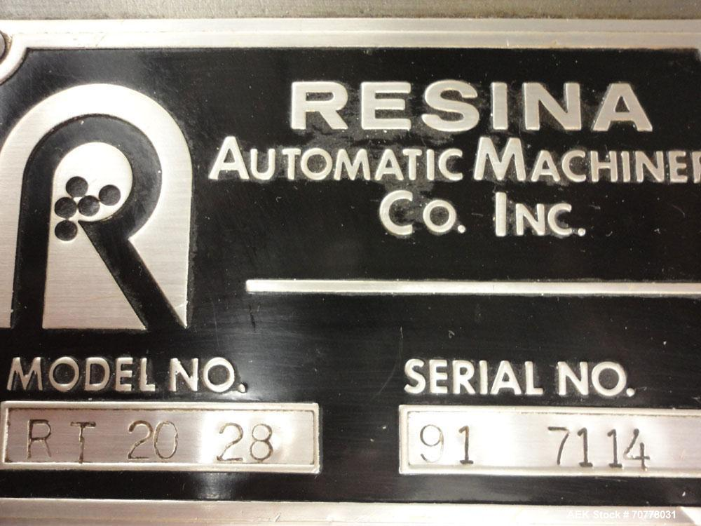 Used- Resina Model RT-20 cap tightener retorquer. Capable of speeds up to 90 bottles per minute. Cap size range: 13mm to 38m...
