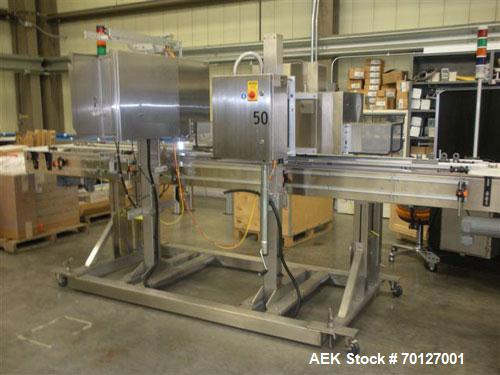 Used-Axon Model EZ-100S Heat Shrink, Tamper Evident, Band and Sleeve Label Applicator, stainless steel. Rated up to 150 ppm ...