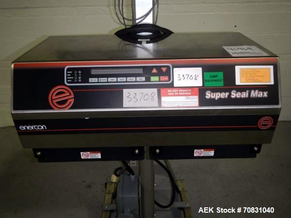 """Used- Enercon Super Seal Max Model LM4989-02 Induction Sealer. 2.5"""" Wide x 28"""" long seal section, 240 volt, serial# C25570-0..."""
