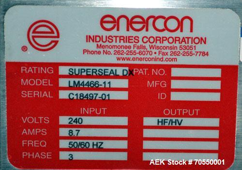 Used- Enercon Superseal DX Air Cooled Induction Sealer. Model LM4466-1. 3/50/60 HZ, 240 volt, 8.7 amps. Mounted on an adjust...