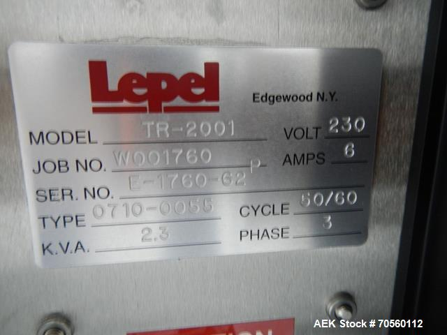 Used- Lepel TR Series Induction Sealer, Model TR-2001. Serial# E-176062 0710-0055.