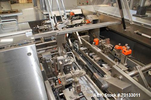 Used-Bosch CAR T5 Horizontal Cartoner with intermittent motion for vials/tubes/blister. With (1) melt conveyor for cans, 5.3...