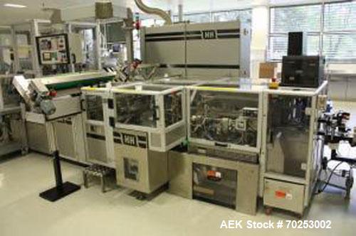 "Used-Harro Hofliger BK40-6"" Cartoning Machine, equipped with a hot glue closing system. Minimum carton size 1.97"" x 0.79"" x ..."