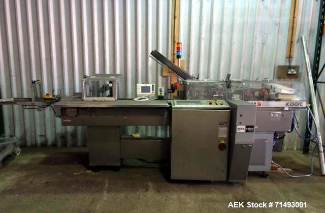 Used- IMA Cartoner, Model K150-C. Intermittent motion, rated up to 130 cartons per minute. 20 mm x 12 mm x 55 mm to 85 mm x ...