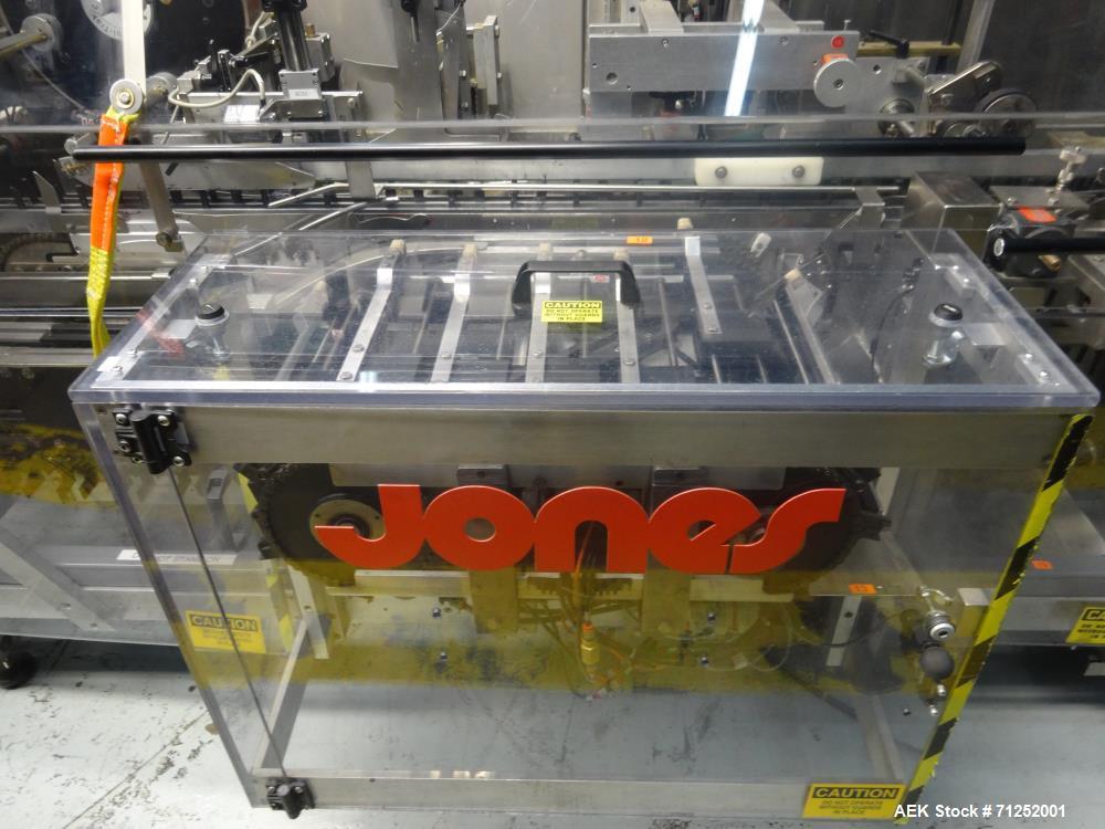 Used- Jones Model Legacy Automatic Bottle Load Horizontal Glue Pharmaceutical Ca
