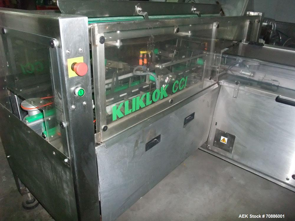 Used-Kliklok-Woodman Cartoner, Model CCI, 40 cpm.  Features stainless steel construction, powered hopper, mechanical indexin...
