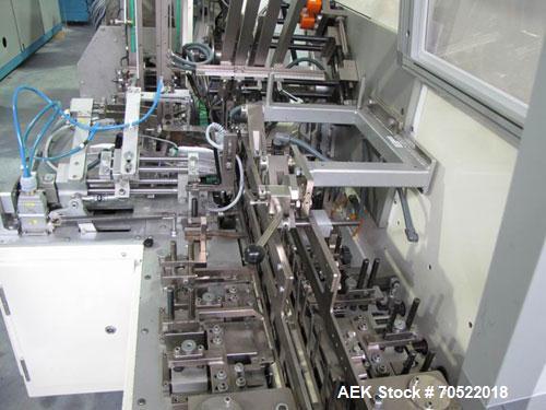 """Used-Klockner P5-120 Cartoner.  Box format: length 2.1 - 7.8"""" (55-200 mm), width 0.8 - 2.3"""" (20-80 mm), height 0.4 - 2.5"""" (1..."""