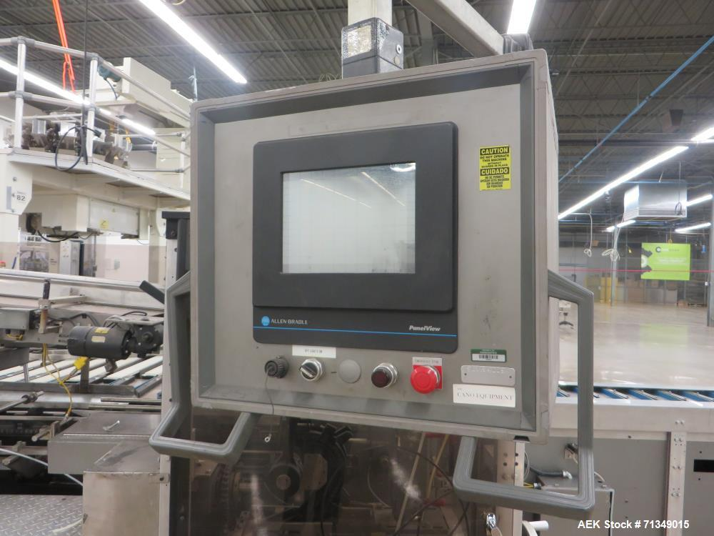 "Used- Langen MC-SCA Automatic Horizontal Cartoner with 9"" centers Nordson Hot Me"