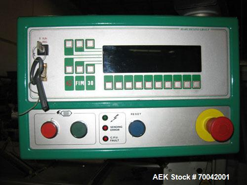 """Used-Marchesini Model MA355 Horizontal Cartoner capable of speeds up to 260 CPM. Has 5"""" centers for a carton size range: (le..."""
