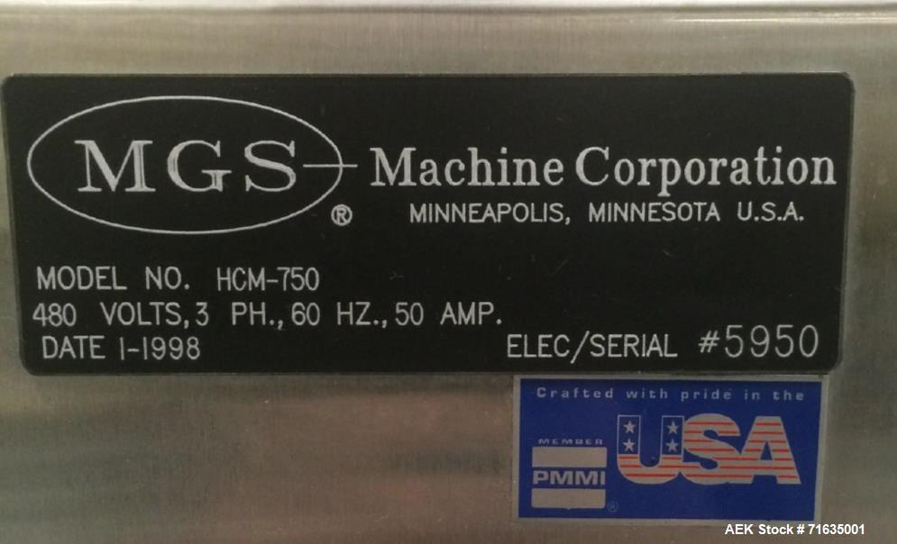 Used- MGS, Model HCM-750 Continuous Motion Horizontal Cartoner. Capable of speeds up to 250 cartons per minute. Minimum cart...