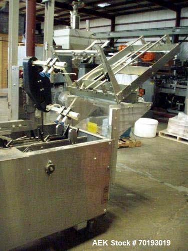 """Used- Adco Semi Automatic Horizontal Cartoner, Model 15D105-SS. Set on 12"""" centers. Has approximately 8 1/2' long load area...."""