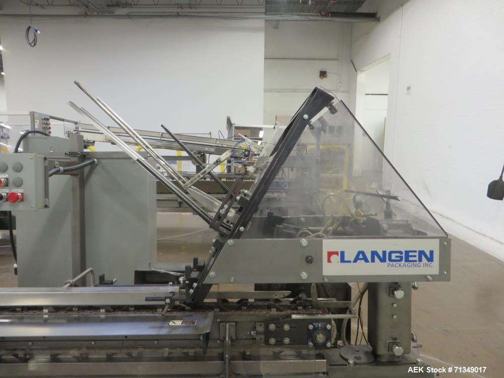 "Used- Langen B1-M Cartoner, 9' Load area, Hot Melt, 9"" Centers"