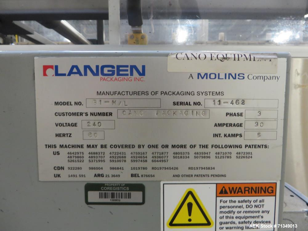 "Used- Langen B1-M Cartoner, Top Square Chain 9' Load area 9"" Centers"