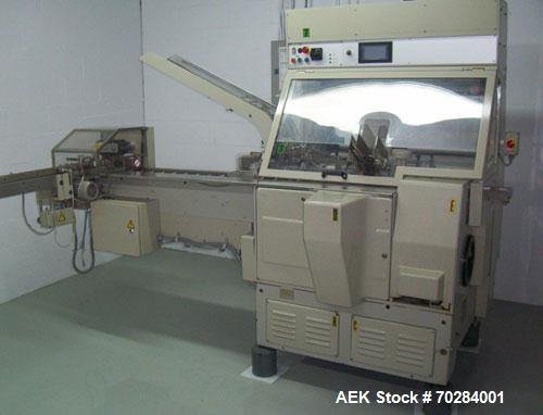 Used- Marchesini BA100 tube cartoner. Has leaflet feeder. Reject station, rated to 60 cpm. 208V, 3PH, 2.5KW, 60 Hz, 24 VDC