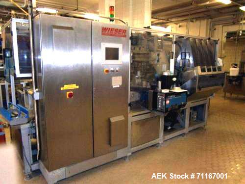 Used- Wieser Wrap Around Cartoner (for cups). Capacity 4 pieces or 25 pieces/carton. Including: weighing belt, belt conveyor...
