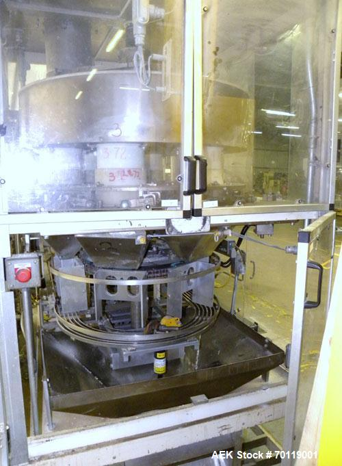 Used- Yeaman Machine VCM-1000 Vertical Cartoner with 6 head volumetric cup fille