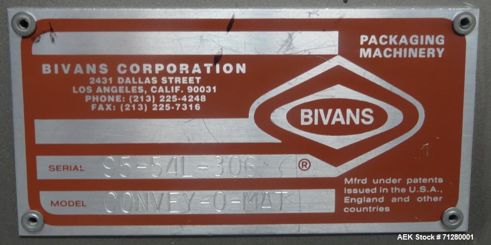 Used- Bivans Model 54L Convey-O-Mat Semi-Automatic Vertical Cartoner