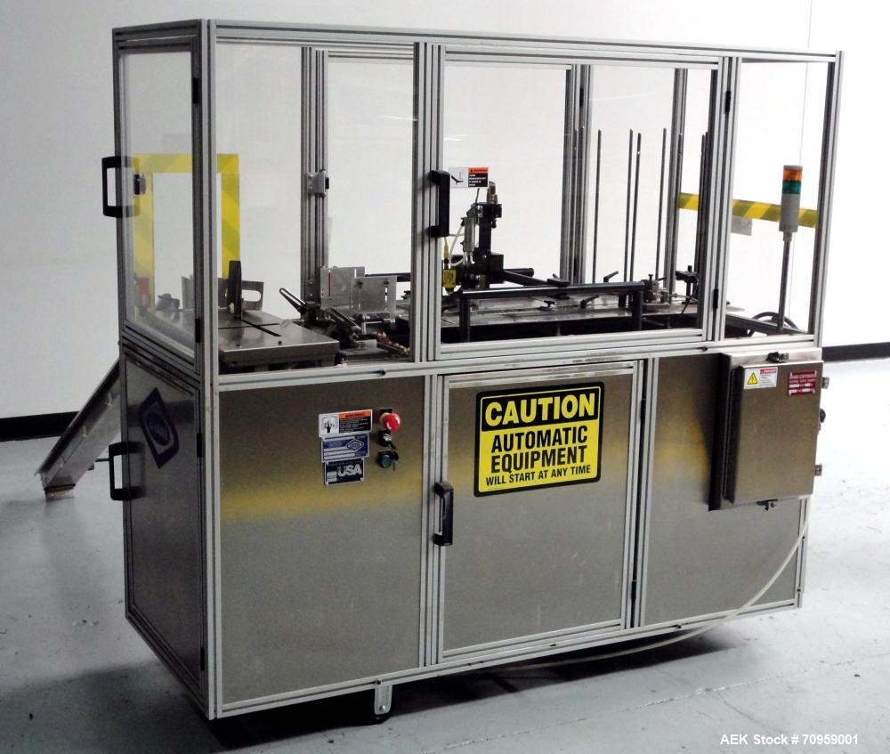 Used- Bivans 54L Carton Former and Bottom Closer. Capable of speeds up to 60 cartons per minute. Has a carton size range: (L...