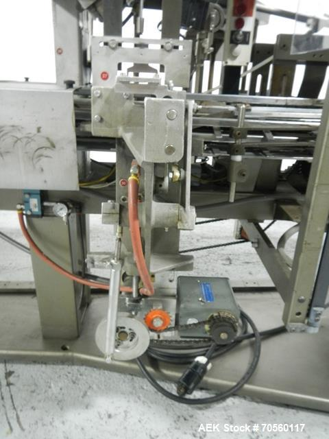 Used- Jones CMV5 Vertical Hot Melt Glue Cartoner w/Coder and Leaflet Feeder.