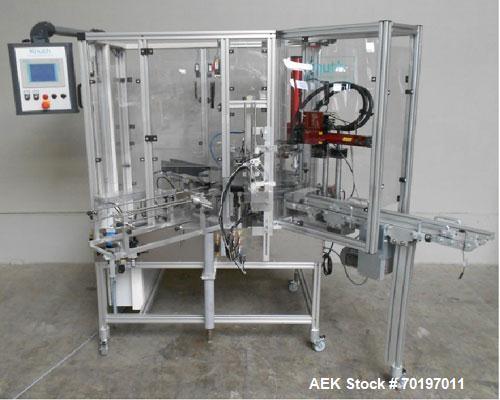 Used-Knuth UKK 3 V Automatic Vertical Cartoner.  Capacity 50 cartons/minute, set up for DUMA cans, conveyor belt, Siemens OP...