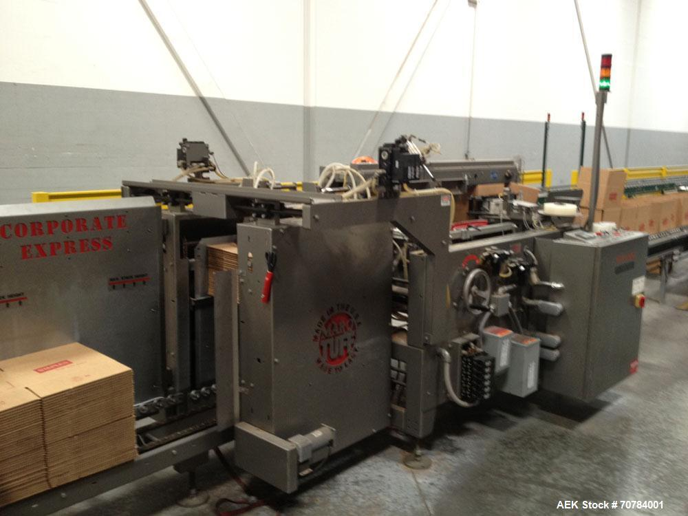 Used-Marq Case Erector, Model S-HPE-NS/RH/DL.  40 Cases per minute, bundle stack hopper, continuous two stack feed hopper, t...