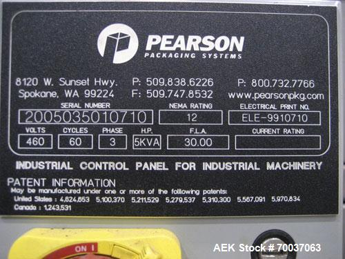 Used-Pearson Box Erector, Model R350G.Features Allen Bradley Micrologix 1500 PLC, (5) Allen Bradley Series C VFDs, Allen Bra...