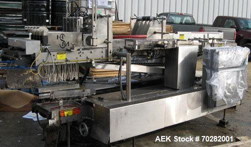 Used- Hamrick 360 drop case packer capable of speeds up to 20 CPM.  Vertically mounted case lift assembly with stainless ste...