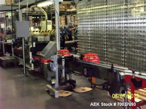 Used- Hartness Case Packer. The 825 case packer can handle any size product from 2 ounces to 1 gallon with appropriate chang...