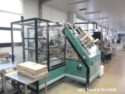 Used- Ixapack Case Packer, Model Vendor IX MANU. Speeds up to 60 cases per minute. Last used for aerosol can application, fo...